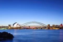 Sunset Sydney, Australia - April 1, 2015 : Opera house and Harbo Stock Photo