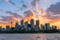 Sunset on the Sydney City Australia. Royalty Free Stock Images