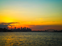 Sunset at Sydney city Royalty Free Stock Images