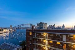Sunset at Sydney Harbor Bridge Royalty Free Stock Photography
