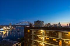 Sunset at Sydney Harbor Bridge Stock Photo