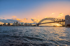 Sunset on the Sydney Harbour Sydney Australia. Oct 03,2016 Sydney Harbour is beautiful meandering waterway,famous around the word Stock Image