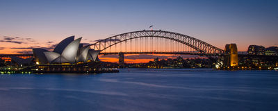 Sunset with the Sydney Opera House and Harbour Bridge Stock Photos