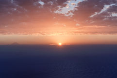 Sunset from table mountain. Sunset looking from cape towns table mountain Stock Photography