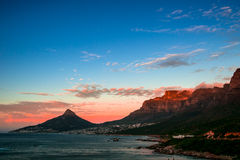 Sunset Table Mountain. Sunset against Table mountain with the view from 12 Apostles Stock Photos