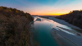 Sunset on Tagliamento river Royalty Free Stock Photos