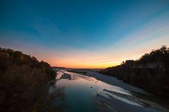 Sunset on Tagliamento river Stock Photography