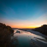 Sunset on Tagliamento river Royalty Free Stock Image