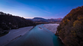 Sunset on Tagliamento river Stock Photos