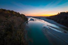 Sunset on Tagliamento river Stock Image