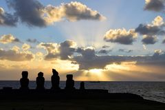 Sunset at Tahai, Easter Island. Sunset over the moai at Tahai, Easter Island, Chile Royalty Free Stock Photo