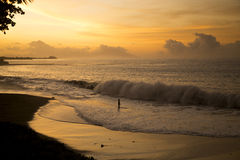 Sunset in Tahiti Royalty Free Stock Photography