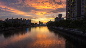 The sunset in Tainan Canal Stock Images