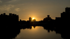 The sunset in Tainan Canal. Royalty Free Stock Photo