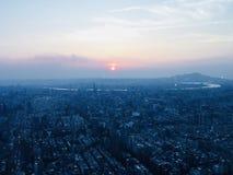 Sunset in taipei royalty free stock photos
