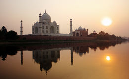 Sunset Taj Mahal. Taj Mahal and sun was reflected in the water,its amazing Royalty Free Stock Photo
