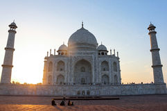 Sunset in Taj Mahal Tomb in Agra, India stock photos