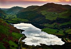 Sunset at Tal-y-llyn Lake and Dysynni Valley Wales. Sunset at Tal-y-llyn Lake situated just south of Cadair Idris massif looking down the Dysynni Valley with the royalty free stock photos
