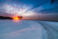 Sunset in Tallinn. Seaside in Tallinn at Pirita Promenaad in sunset lighting Stock Image