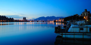 Sunset of Tamsui River, Taipei, Taiwan Royalty Free Stock Photography