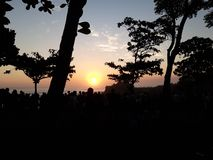 Sunset tanah lot Bali in Indonesia royalty free stock images