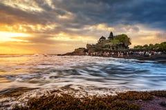 Sunset at Tanah lot, Hindu temple Royalty Free Stock Image