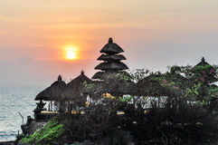 Sunset at Tanah Lot temple in Bali, Indonesia Stock Photos