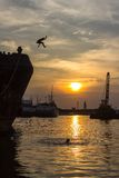 Sunset. At tanjung mas semarang, central java, indonesia, southeast asia Stock Image