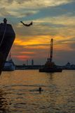 Sunset. At tanjung mas, semarang, central java, indonesia, southeast asia Royalty Free Stock Image