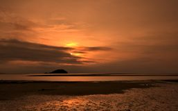 Sunset at Tanjung Pendam. Beitung Island Indonesia Stock Images