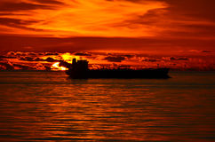Sunset with a Tanker ship. In the Gulf of Mexico Royalty Free Stock Photo
