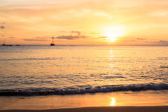 Sunset in Tarrafal beach in Santiago island in Cape Verde - Cabo Royalty Free Stock Images