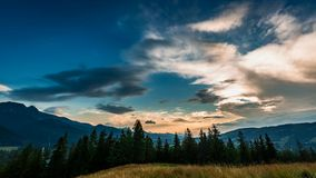 Sunset in Tatra mountains view from Zakopane stock video