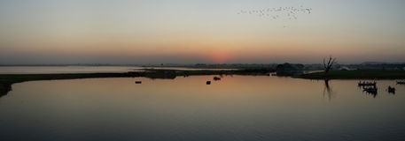 Sunset on Taung Tha Man Lake, Myanmar Royalty Free Stock Photos
