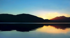 Sunset on Te Anau lake in New Zealand. Stock Images