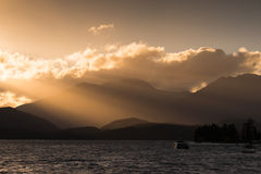 Sunset at Te Anau Lake, New Zealand Royalty Free Stock Image