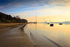 Sunset on the Tejo river. Royalty Free Stock Images