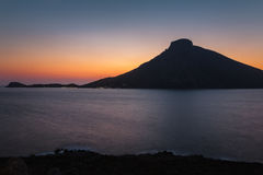 Sunset on Telendos Greek island of Dodecanese archipelago in Aegean sea Royalty Free Stock Photos