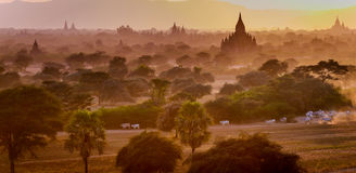 Sunset from a temple in Bagan, Myanmar Stock Photography