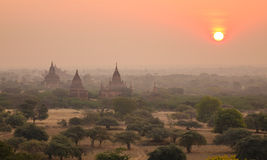 Sunset on temple in Bagan, Myanmar Royalty Free Stock Photo