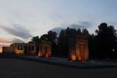 Sunset at the Temple de Debot in Madrid stock photos