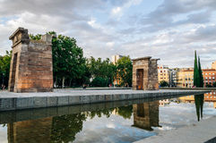 Sunset on Temple of Debod in Madrid Royalty Free Stock Photography