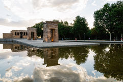 Sunset on Temple of Debod in Madrid Stock Photography