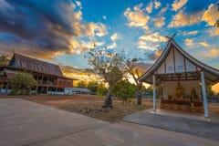 Sunset in the temple of Sakon Nakhon province village, Isan, Thailand stock photo