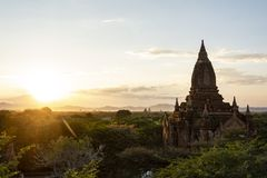 Sunset in the Temples and pagodas of Bagan. View of the archaeological park of the ancient temples and pagodas of Bagan. Myanmar stock image