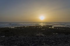 Sunset in Tenerife overlooking the ocean, beautiful sunset. Sunset in Tenerife overlooking the ocean. The concept of relaxation and romance on the Spanish island stock photography