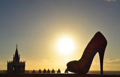 Sunset in Tenerife with shoe silhouette. Sunset in Tenerife with silhouette shoe royalty free stock photography