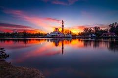 Sunset Tengku Tengah Zaharah Mosque Terengganu Malaysia Stock Photography