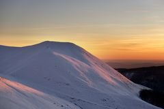 Sunset on Terminillo mountain royalty free stock image