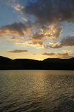 Sunset at the Terradets reservoir, Catalan Pyrenees, Spain Stock Images